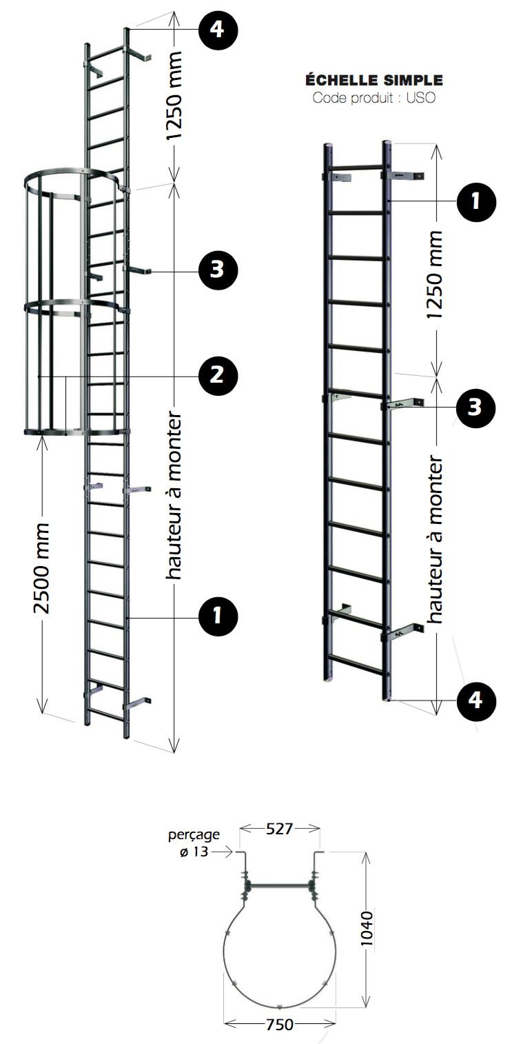 chelle crinoline aluminium sortie sous trappe ouverte cleas protection. Black Bedroom Furniture Sets. Home Design Ideas